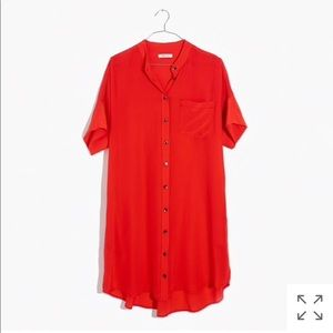 Madewell Red Silk Shirtdress